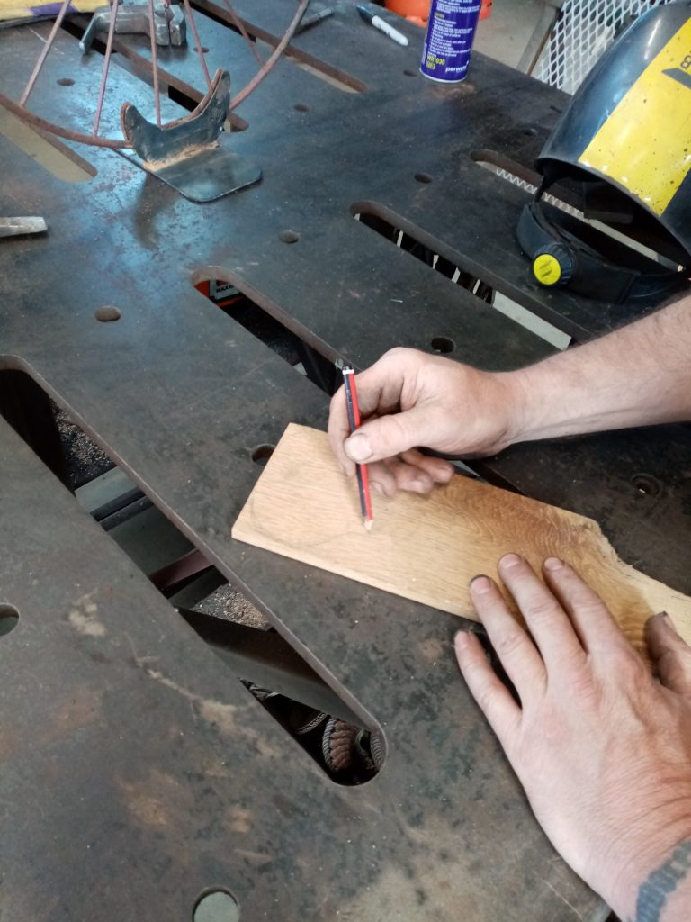 Billy creating a new saddle from Irish oak.