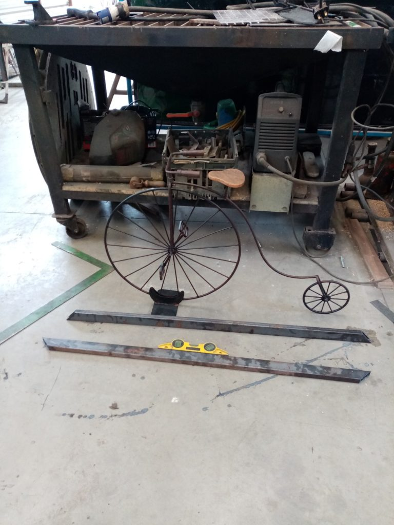 Creating a frame for the penny-farthing.