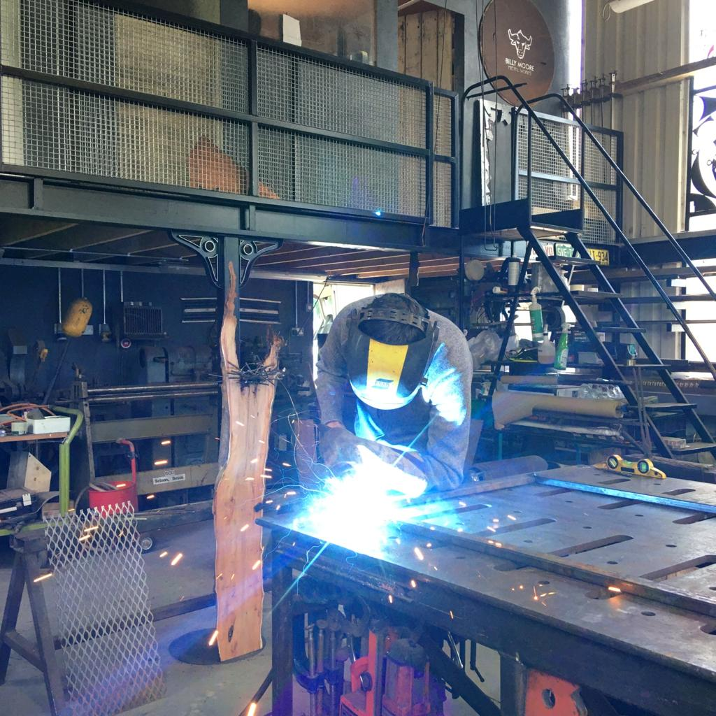 Me trying welding for the first time on the bike frame surround.