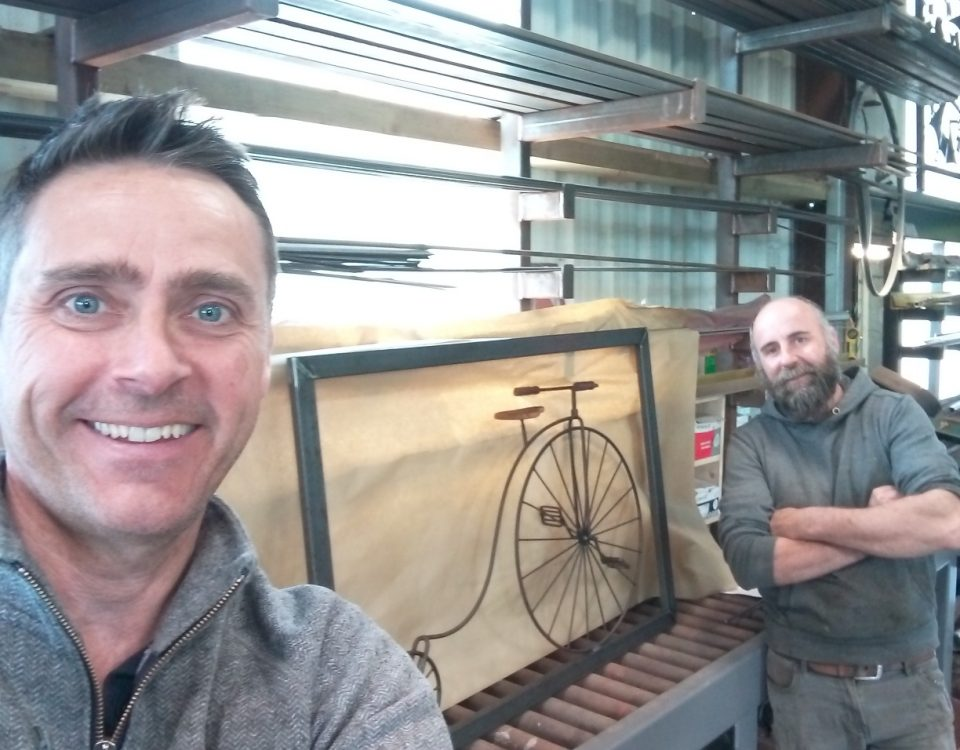 Richard Povey (left) with Billy Moore and restored penny-farthing