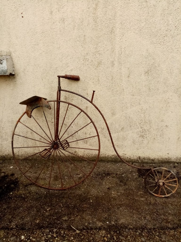 Unrestored penny-farthing.
